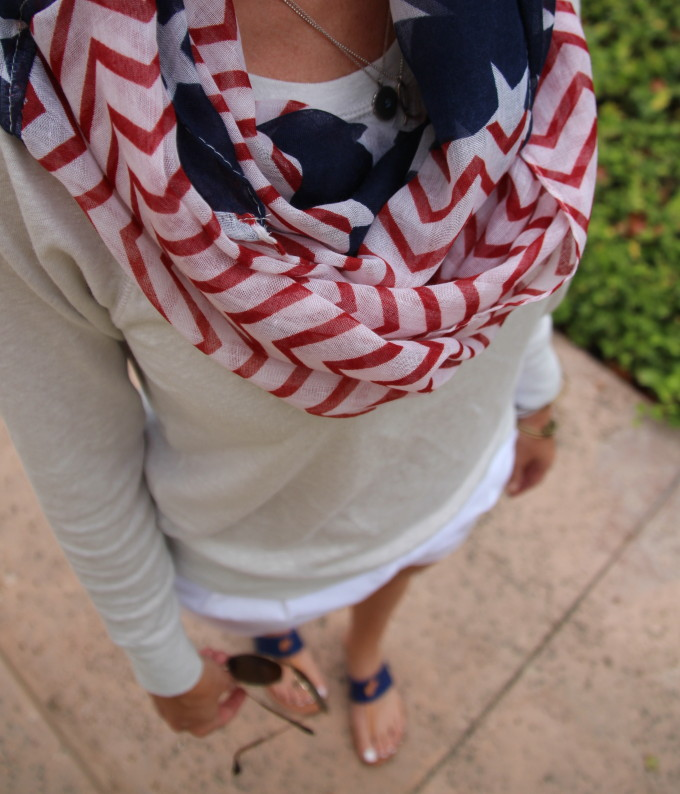 white shorts, flag scarf, scarf, flat, joie sandals, j crew, red white and blue