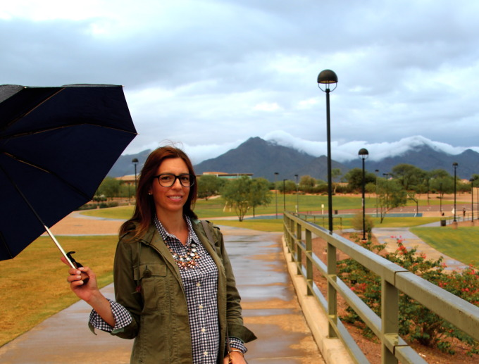 rainy afternoon in Scottsdale wearing grey Hunter boots