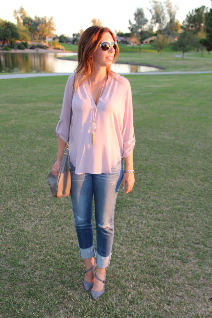 blush and grey outfit for fall