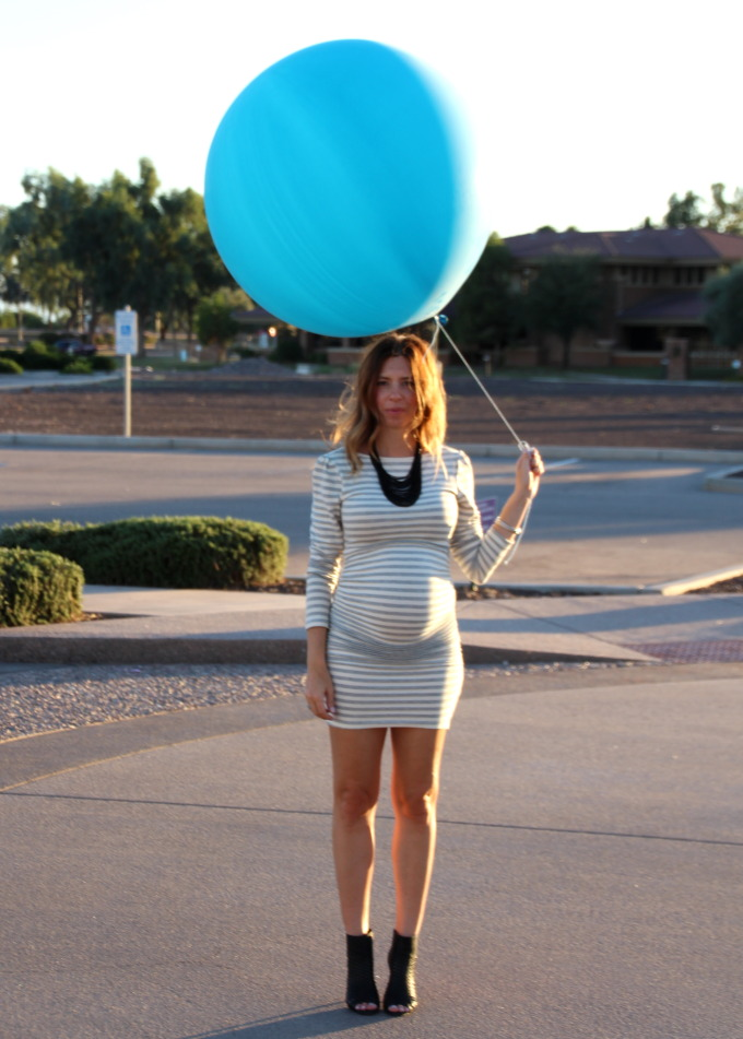 maternity style in baby announcement and gender reveal
