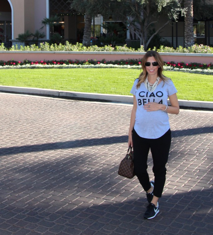dressing the baby bump with a cheeky graphic tee