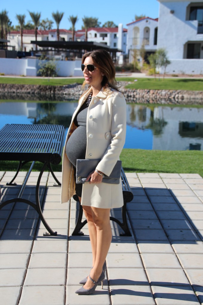 Grey dress and ivory coat at 26 weeks pregnant