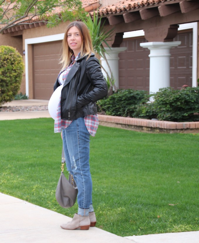 layers of plaid and leather for winter