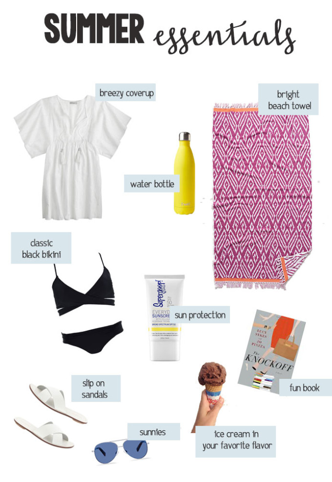 Summer essentials for a day at the beach