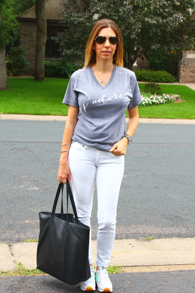 J'Adore Tee by Olive Lane, Cuyana Tote| Mom Style