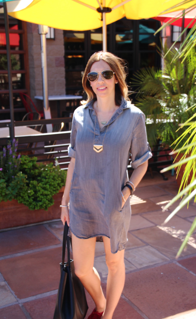 Grey Dress and Red Cole Haan oxfords