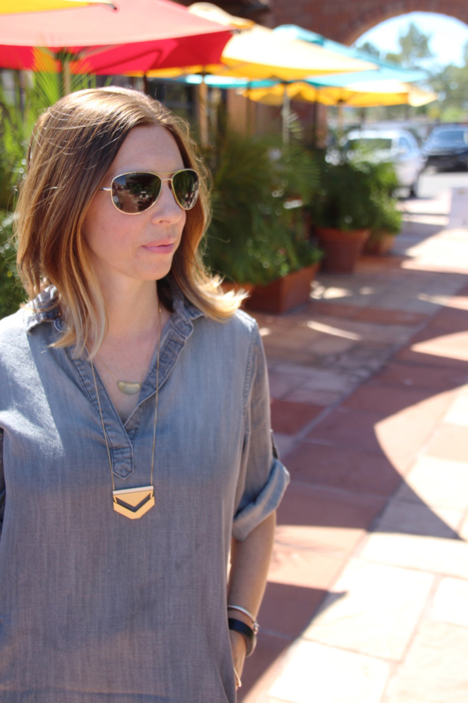 Grey Dress and Red Cole Haan oxfords, Madewell Necklace