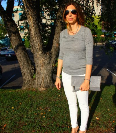 Grey J Crew Tippi Sweater & Clare V Clutch, White Jeans