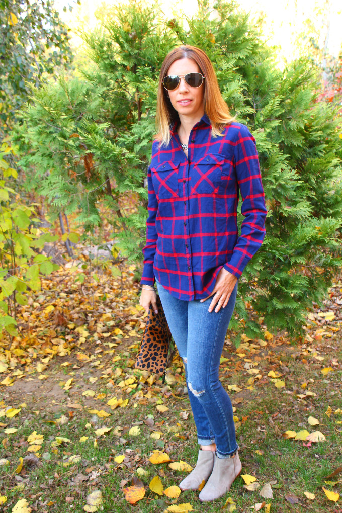 Plaid Shirt, Distressed Jeans