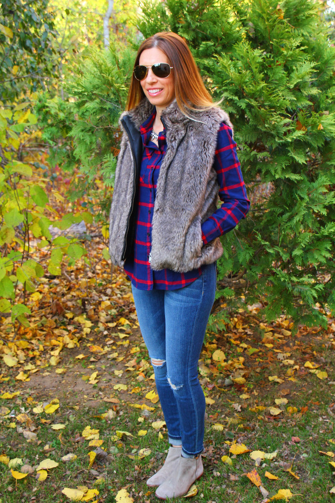 Plaid Shirt, Distressed Jeans, Fur Vest