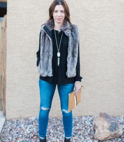 Black Shirt and Ankle Boots, Distressed Jeans, Fur Vest, Clare V Clutch