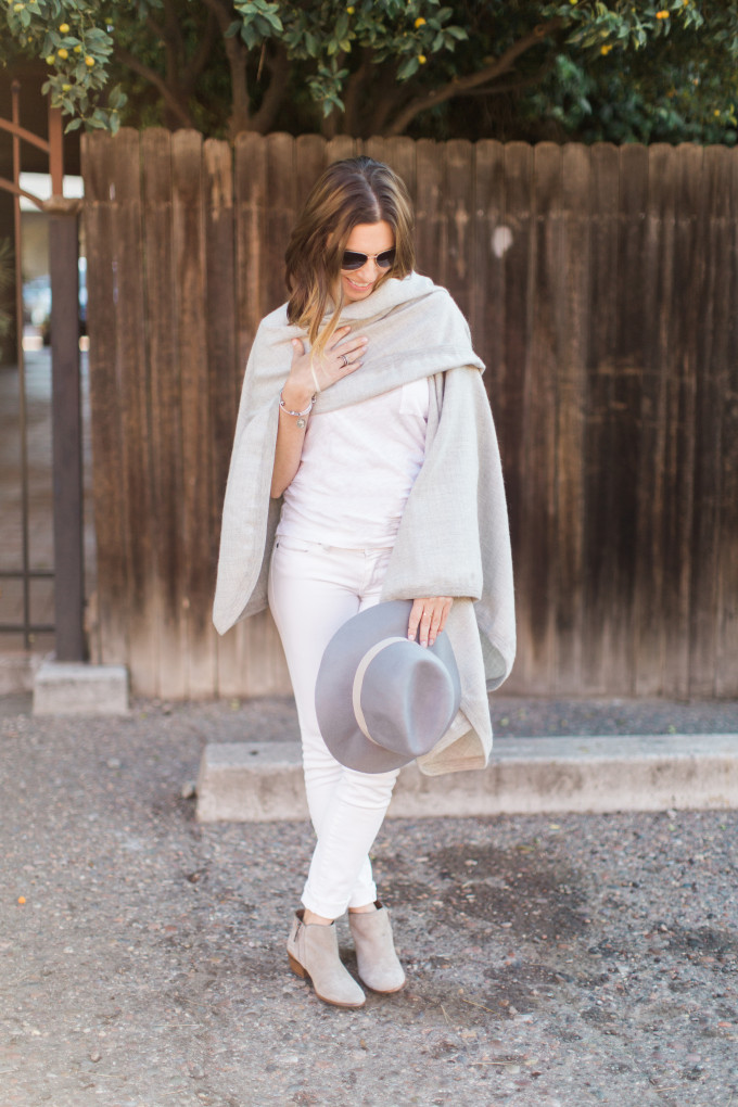 Grey Cuyana Cape, White Jeans & Tee, Sam Edelman Petty booties