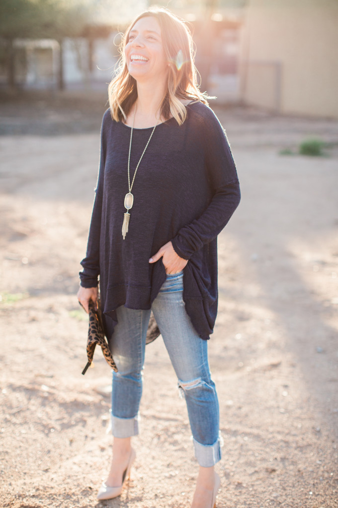 Free People Open Back Sweater, Clare V Leopard Clutch