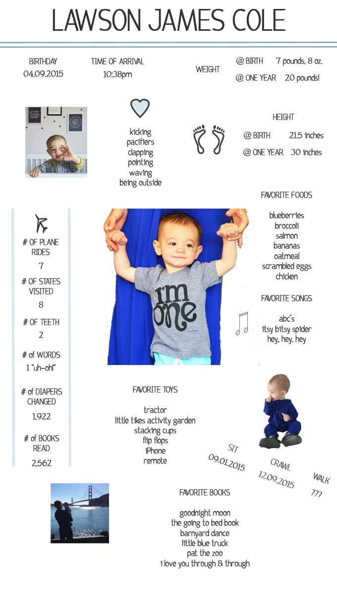 Baby's Year One Infographic