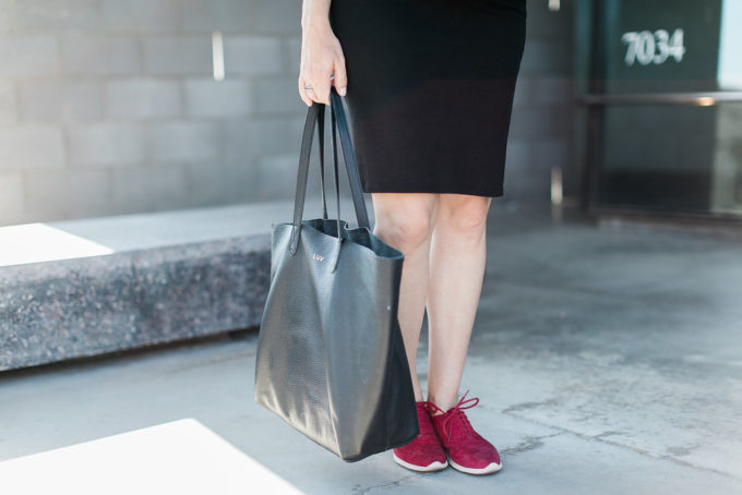 Storq Black Dress, Pregnancy Style, Maternity Essentials, Cole Haan Zerogrand Sneaker, Cuyana Tote