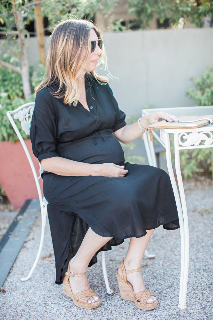 Black Midi Dress, Pregnancy Style, Maternity Outfit, Summer Style
