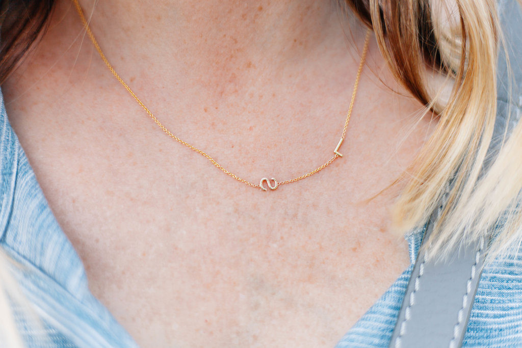 madewell distressed jeans, maya brenner initial necklace