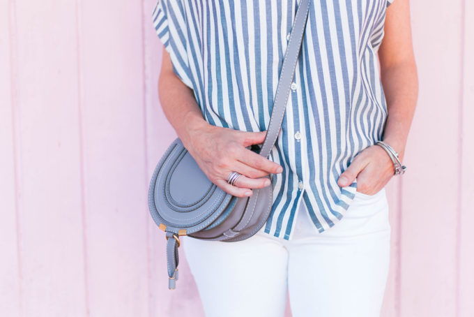 Madewell Striped Shirt, White Jeans, Grey Chloe Marcie