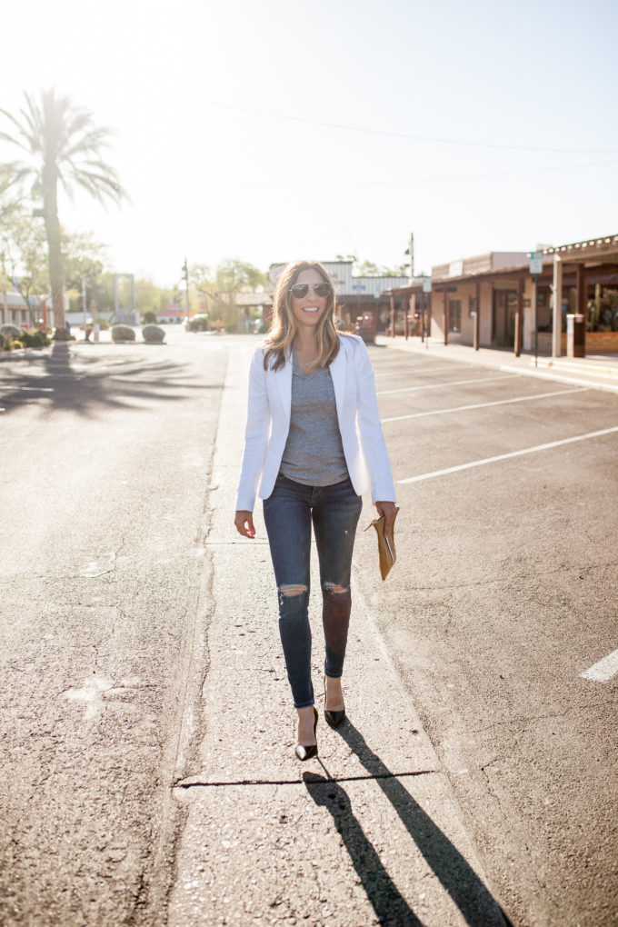 White Blazer, Distressed Jeans, Clare V Clutch
