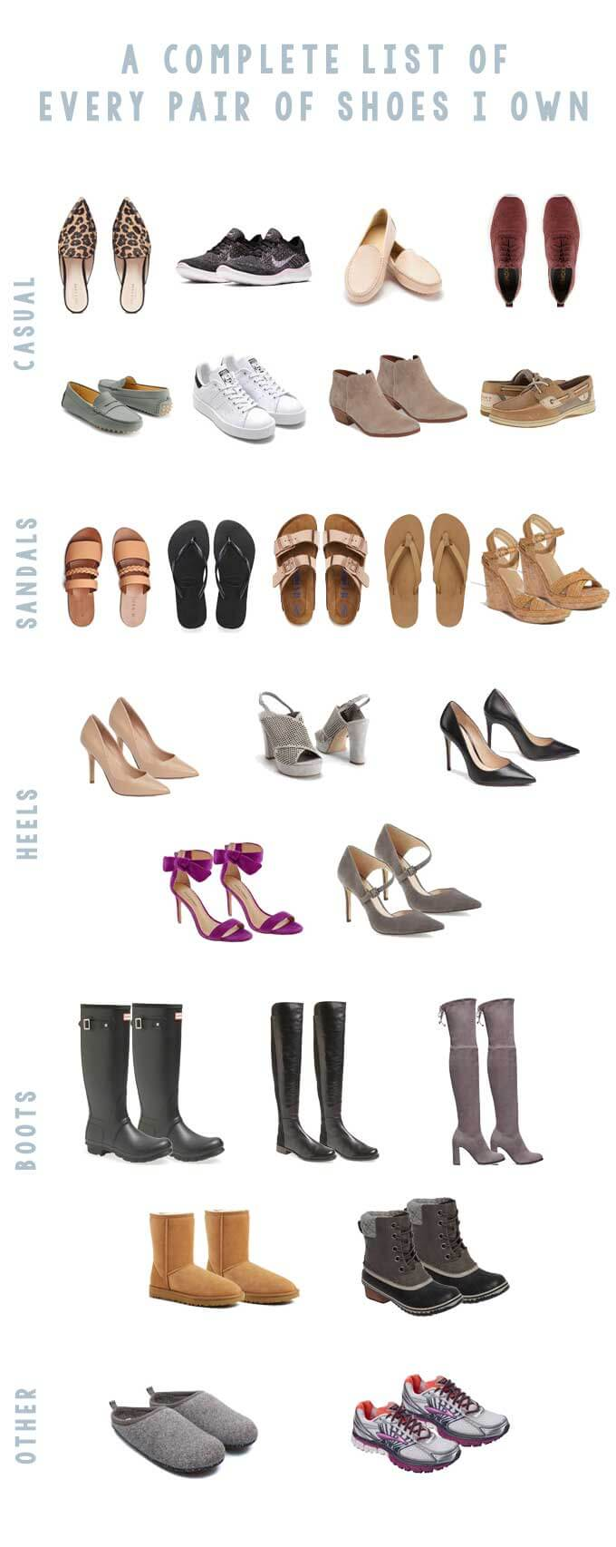 Complete List of Shoes