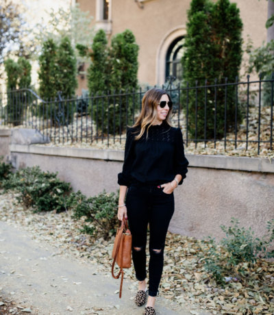 Madewell Black Eyelet Top